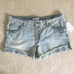 Free People Button Cut Off Fray Destroyed Shorts